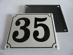 Old German White Enamel Porcelain Metal House Door Number Street Sign / Plate 35