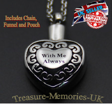 With Me Always Cremation Ashes Necklace Funeral Memorial Jewelery AshUrn Pendant
