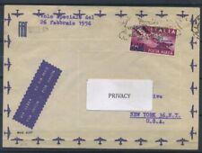Italia Repubblica 1956 Sass. 153 Primo Giorno 100% Posta Aerea - Volo speciale