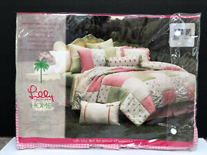 NIP Lilly Pulitzer Check Pattern Pink Green Queen Bee Bedskirt Twin