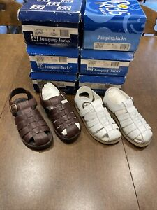 Munro Jumping Jacks Boys Girls Youth Leather Sandals Brown & White Sizes 13 1 3