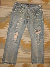Jordan & Craig 36 x 32 Extremely Distressed Denim Blue Jeans ( Actual 38 x 33)