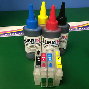 Recyclable Cartridges + 400ml Refill Ink for Epson Stylus S22 SX125 SX130 SX225W
