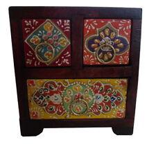 Fairtrade Bois Foncé 3 Peinture Dessiner la poitrine, ethnique, Gypsy Style, ocassion Cadeau