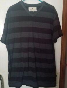 New Mens Ferruche V Neck Black and Grey Short Sleeve Striped Tee, XXL, 2XL