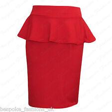 Ladies Women's CREPE TEXTURED Peplum Bodycon Knee Length Skirt Plus Size 8-22