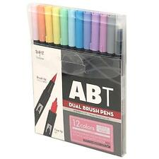 Tombow ABT Dual Brush Pen Art Markers 12 Pack Pastel AB-T12CPA Genuine