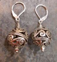 Large Silver Filigree Ball Earrings with Sterling Silver Leverbacks