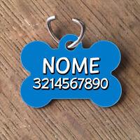 Medaglietta Targhetta cane forma di osso NOME NUMERO TELEFONO azzurra