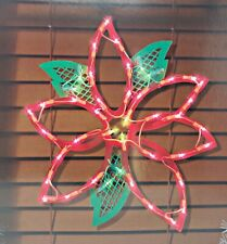 Christmas Poinsettia Lighted Instant Décor Window Decoration – 1 Piece