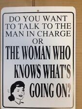 Talk To Man Or Woman Who Knows Funny Gift PVC  Street Sign bar man cave 8.5x12