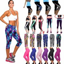 Women YOGA Gym Sports Capri Fitness Stretch Running Tights Cropped 3/4 Pants New