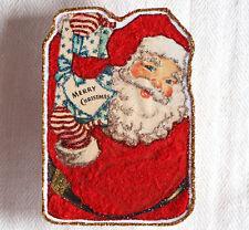 Glittered & Flocked Wooden CHRISTMAS Ornament~Santa ~Vintage Card Image~Handmade
