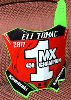 ELI TOMAC #1 *Signed 2017 450 MX Champ Monster Kawasaki Front Number PLATE