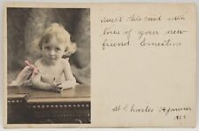 Antique 1901 Colored Postcard Little Baby Girl