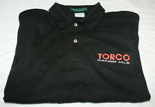 TORCO RACING OILS men's XL embroidered collared black T-Shirt brushed cotton