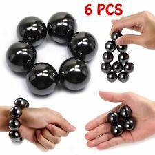 6Pcs Hematite Magnetic Stones Polished Magnetic Balls  For Scinence Intelligence