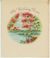 VINTAGE COUNTRY HOUSE NESTLED IN SPRING FLOWER GARDEN SPRING SEASON CARD PRINT