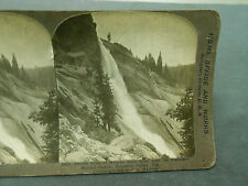 ANTIQUE STEREOVIEW PHOTO PROFILE VIEW OF NEVADA FALLS MERCED CANON