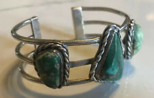 BEAUTIFUL OLD VINTAGE NAVAJO GREEN TURQUOISE & STERLING SILVER ROW CUFF BRACELET