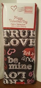 Valentine's Day Tablecloth Sweetheart Chalkboard Hearts Fabric 60 x 102 NEW