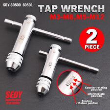 2 Piece Set Ratchet Tap Wrench T Handle Bar Type Screw Thread Tool M3-M8 M5-M12