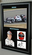 "Michael Schumacher F1 Mercedes Framed Canvas Signed Print ""Great Gift"""