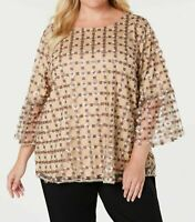 Calvin Klein Women's Gold Purple Embroidered Blouse Plus Sizes MSRP $129 C1019