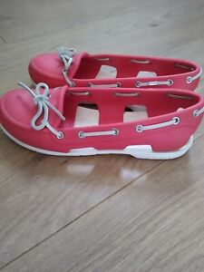 LADIES LOVELY RARE CORAL COLOUR DECK/BOAT SHOES SIZE UK 5 FROM CROCS