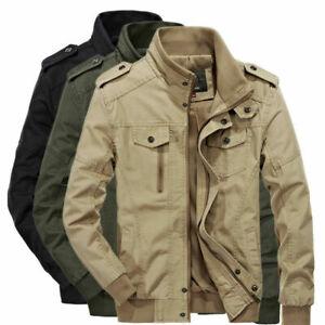 Men's Spring Autumn Outwear Military Jackets Casual Cotton Collar Jacket Coat XL