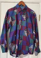 Vintage 90s Ralph Lauren Chaps Paisley Patchwork Plaid Shirt Mens Medium M
