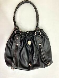 Nine West Purse Handbag Bucket Bag Black PVC Vegan Leather 2 Handles Drawstring