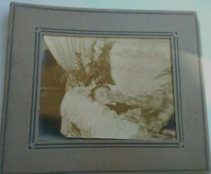 Antique Funeral Coffin Boy Real Photo--Overall About 12x14 Post Mortem
