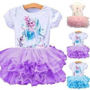 Summer Girl Kids Frozen Olaf Elsa Princess Tutu Skirtes Short Sleeve Tulle Dress