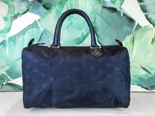be5e5af271  850 CHRISTIAN DIOR Navy Blue Canvas Boston Bag Travel Duffel Leather Trim  SALE!