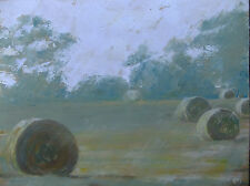 "NEW ORIGINAL BRIDGET ASKEW ""After Harvest"" Hay rolls farm Landscape Oil PAINTING"