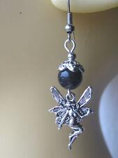 Fairy Earrings Blue Goldstone Beads Fairies Faeries
