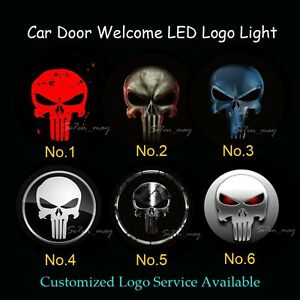 2x Punisher Logo Car Door Welcome Laser Projector Ghost Shadow Puddle LED Light
