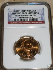 2007 John Adams Missing Edge $ NGC MS66 Mint Error RARE! TOP POP !
