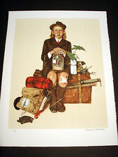 """Norman Rockwell Original Lithograph Hand Signed """"Back From Camp"""" 3/200"""