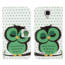 Sleep Owl Design Leather Wallet Card Phone Case Cover for Samsung Galaxy S4