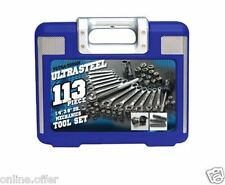 113 Piece Tool Set Ultra Steel Kit Case Mechanic Tools Bits Wrenches Sockets New