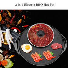 2 In 1 Teppanyaki Electric Pan Shabu Suki Hot Pot BBQ Frying Cook Grill Kitchen