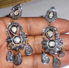 2.32ct ANTIQUE ROSE CUT DIAMOND POLKI 925 SILVER DANGLE VICTORIAN STYLE EARRINGS