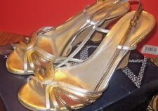 Franco Sarto~Leather~Silver~Gold~Wedges~Dressy~Sandals~Size 8M~Excellent!
