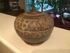 Antique 15th Century Si Satchanalai Thailand Xuande Shipwreck Pottery Lidded Box