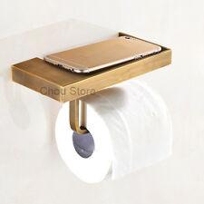 Antique Brass Wall Mount Bathroom Toilet Paper Tissue Roll Holder Storage Shelf