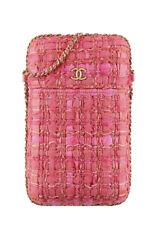 Auth Chanel твид цепь вокруг держатель для телефона Сумочка наплечная сумка золотой фурнитурой