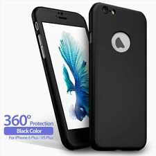 "Funda Carcasa + Protector Cristal Templado Para iPhone 6 Plus 6S Plus 5.5"" Negro"