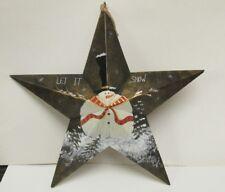 "Jolly Snowman Green Metal Star 22"" Christmas Winter Wall Decoration hd705"